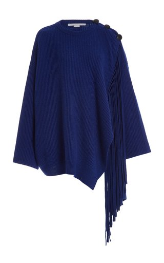Oversized Fringed Cashmere-Blend Sweater