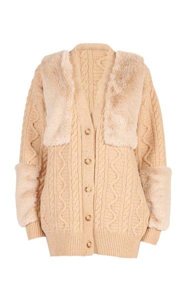 Vegan Fur-Trimmed Cable-Knit Wool Cardigan