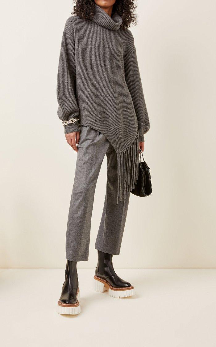Asymmetric Fringed Cashmere-Blend Turtleneck Sweater