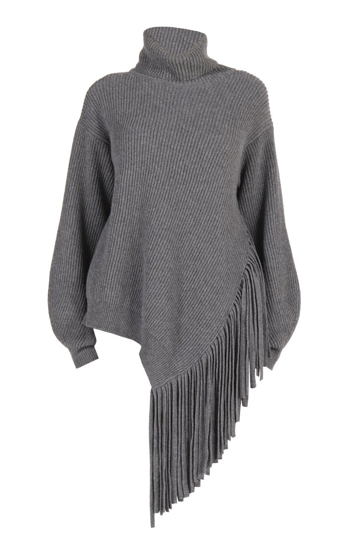 Asymmetric Fringed Cashmere-Blend Turtleneck Sweater