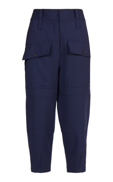 Cecilia Cropped Stretch-Wool Tapered Pants
