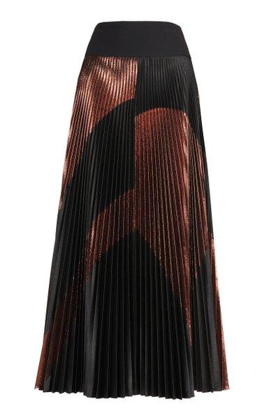 Areley Metallic Pleated Satin Maxi Skirt