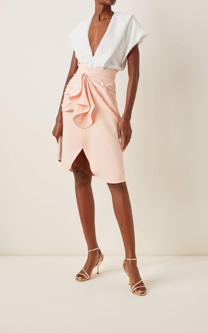 Eruption Ruffled Cady Midi Skirt