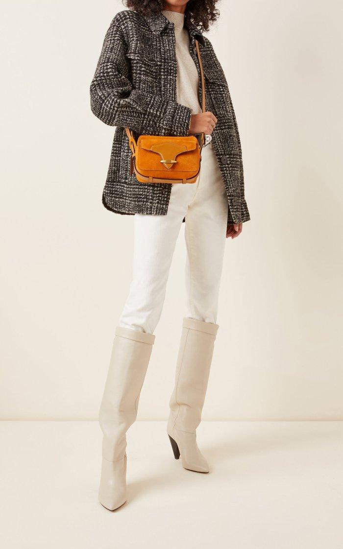 Wasy Leather-Trimmed Suede Shoulder Bag