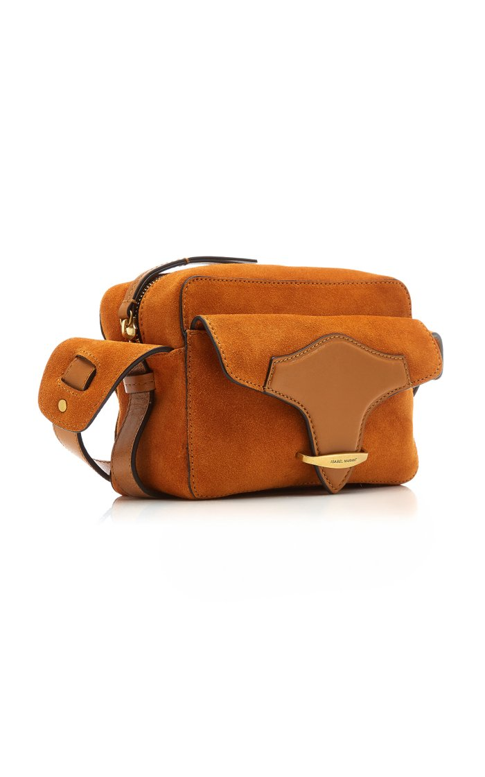 Wasy Leather-Trimmed Suede Shoulder Bag
