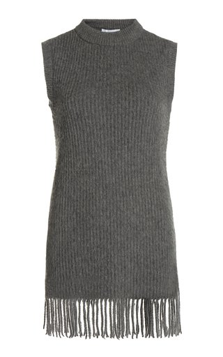 Fringed Ribbed Wool-Blend Tunic