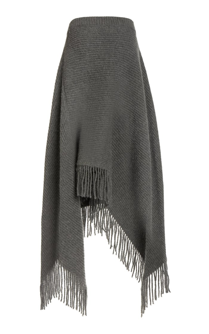 Fringed Ribbed Wool-Blend Midi Skirt