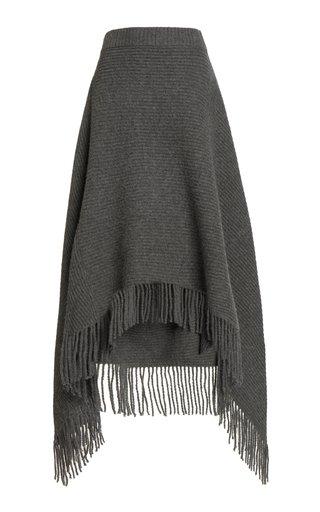 Fringed Ribbed Wool-Blend Midi Skirt