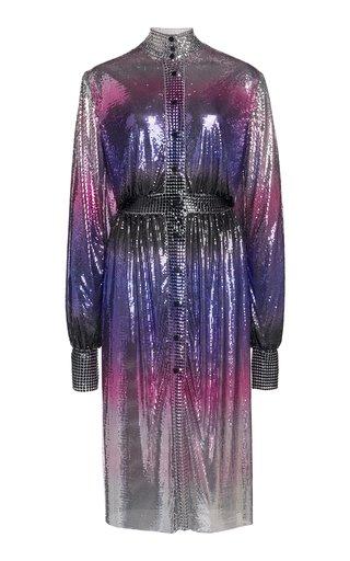 Ombre Metallic Mesh Knee-Length Dress