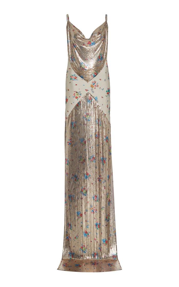 Floral-Print Chainmail Maxi Dress