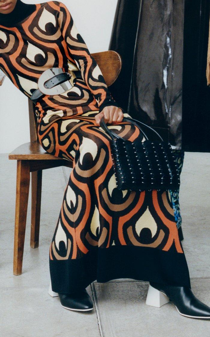 Jacquard-Knit Turtleneck Maxi Dress