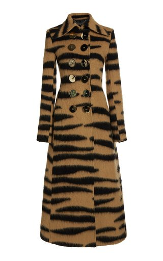 Printed Double-Breasted Wool-Blend Coat