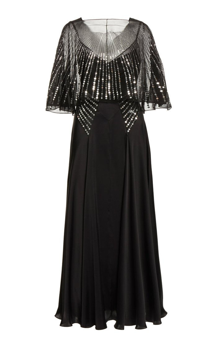 Sequin-Embellished Cape-Effect Satin Maxi Dress