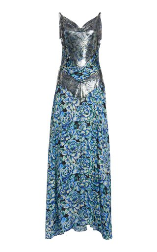 Floral-Print Chainmail And Crepe Maxi Dress