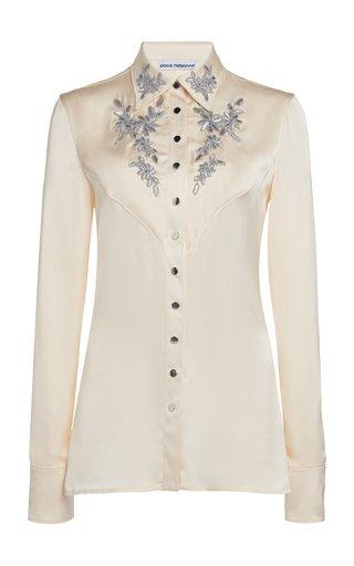 Embroidered Satin Shirt