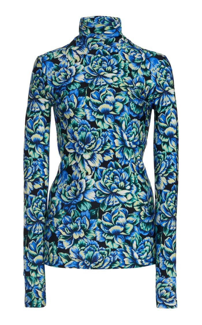 Printed Stretch-Jersey Turtleneck Top