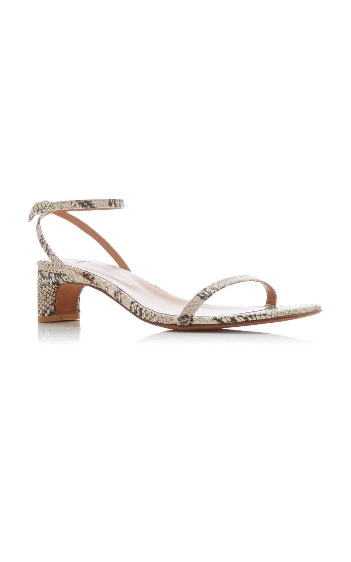 Marina Snake-Effect Leather Sandals