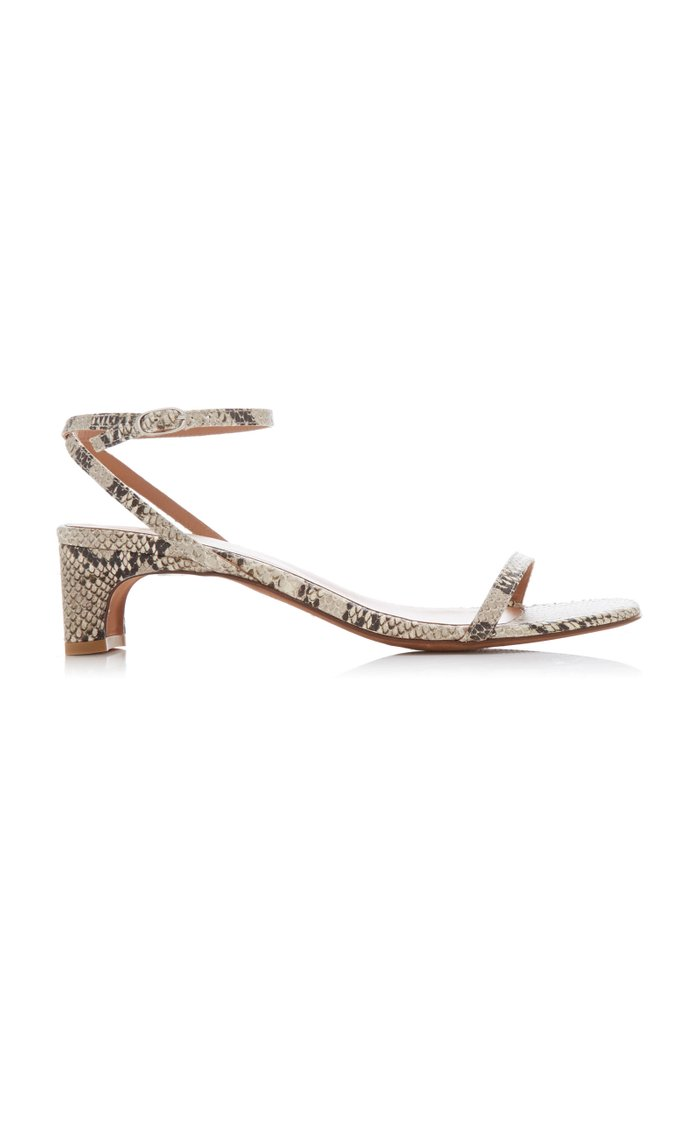 Marina Snake-Effect Leather Sandals