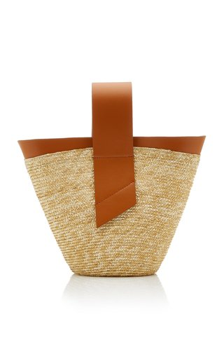 Amphora Straw and Leather Top-Handle Bag