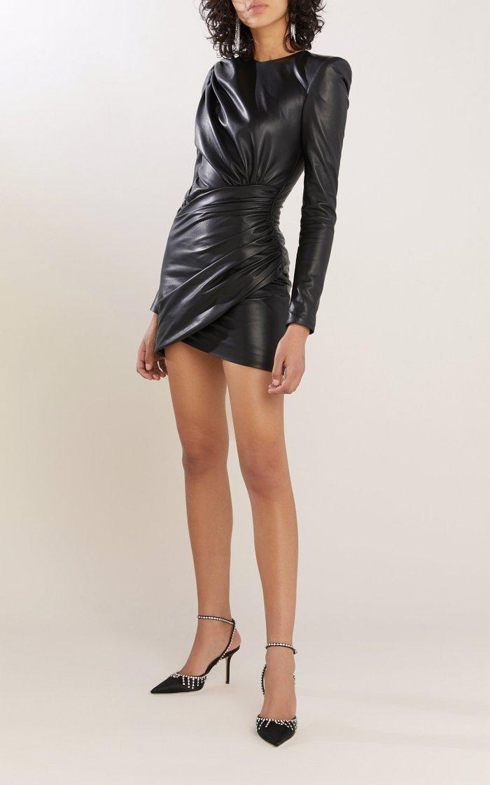 Gathered Leather Mini Dress