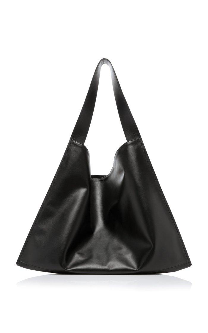 Border Oversized Leather Shoulder Bag