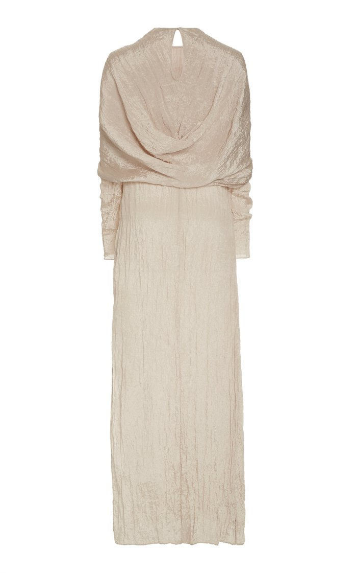Emma Cape-Effect Crinkled Satin Maxi Dress