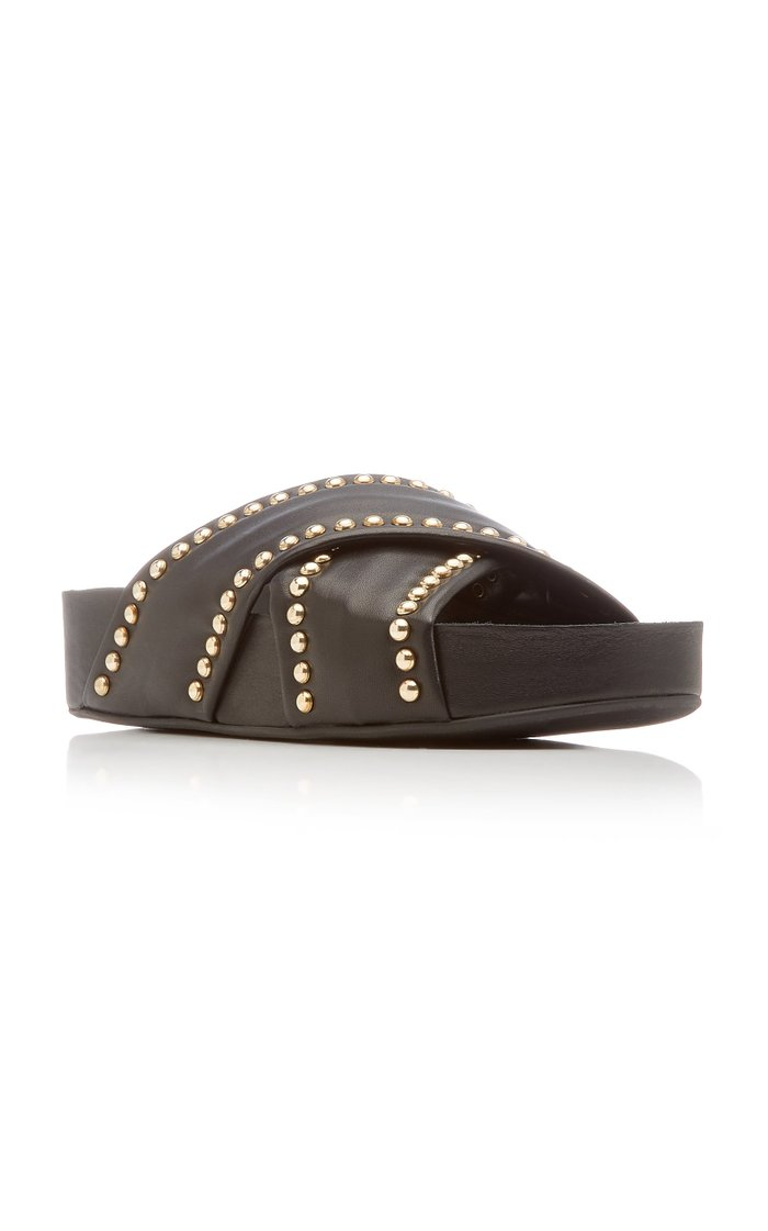 Spur Studded Leather Sildes