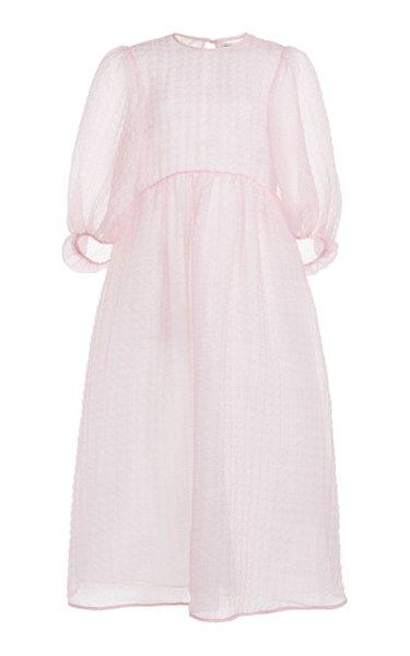 Karmen Textured Silk-Blend Chiffon Midi Dress