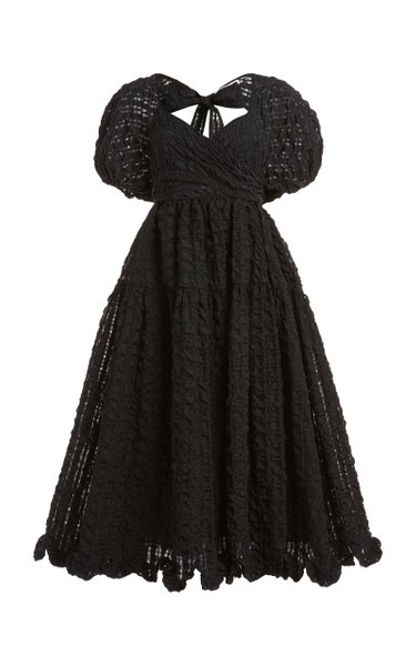 Maya Puff-Sleeve Cloqué Midi Dress