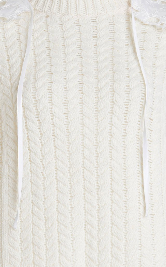 Monse Lace-Detailed Wool-Blend Sweater