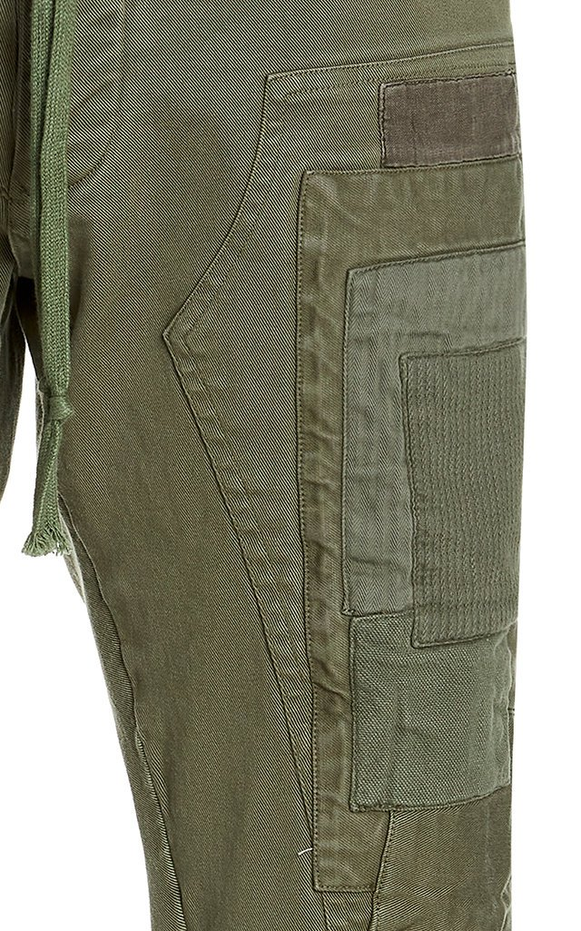 Patchwork Stretch Denim Workpants