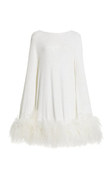 Exclusive Ines Feather-Trimmed Sequined Mini Dress