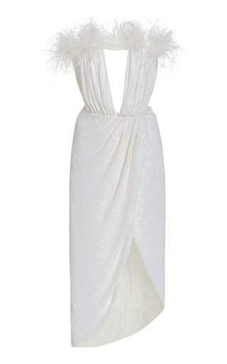 Exclusive Bonnie Feather-Trimmed Sequined Midi Dress