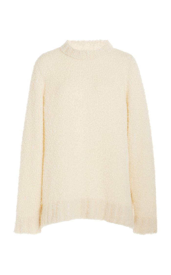 Cashmere-Blend Teddy Racing Sweater