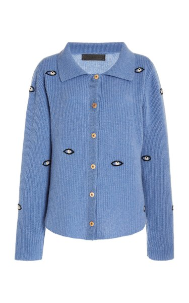 Embroidered Eyes Cropped Cashmere Cardigan