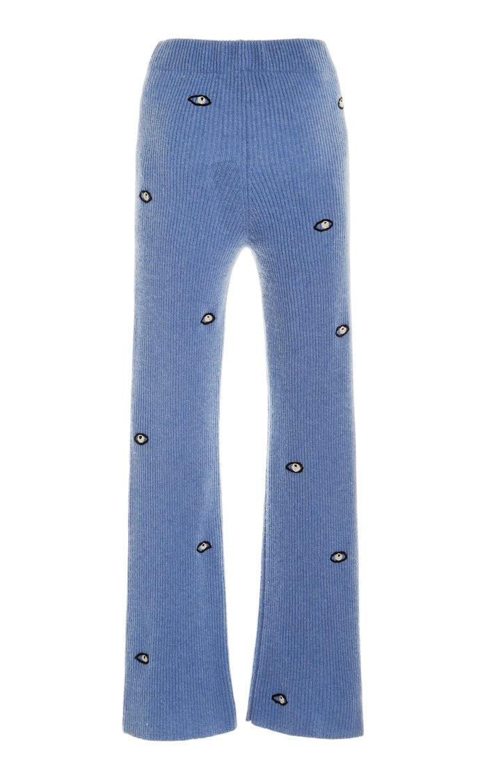 Embroidered Eyes Ribbed Cashmere Pants