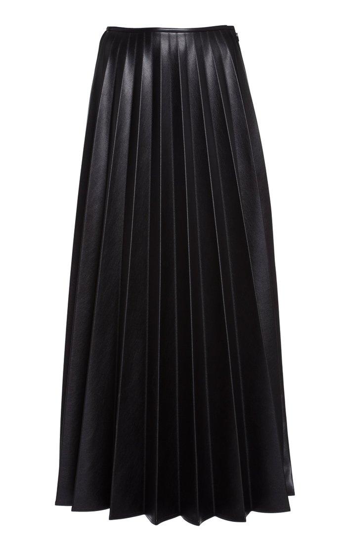 Pleated Vegan Leather Maxi Skirt