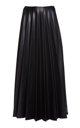 Pleated Vegan Leather Maxi Skirt
