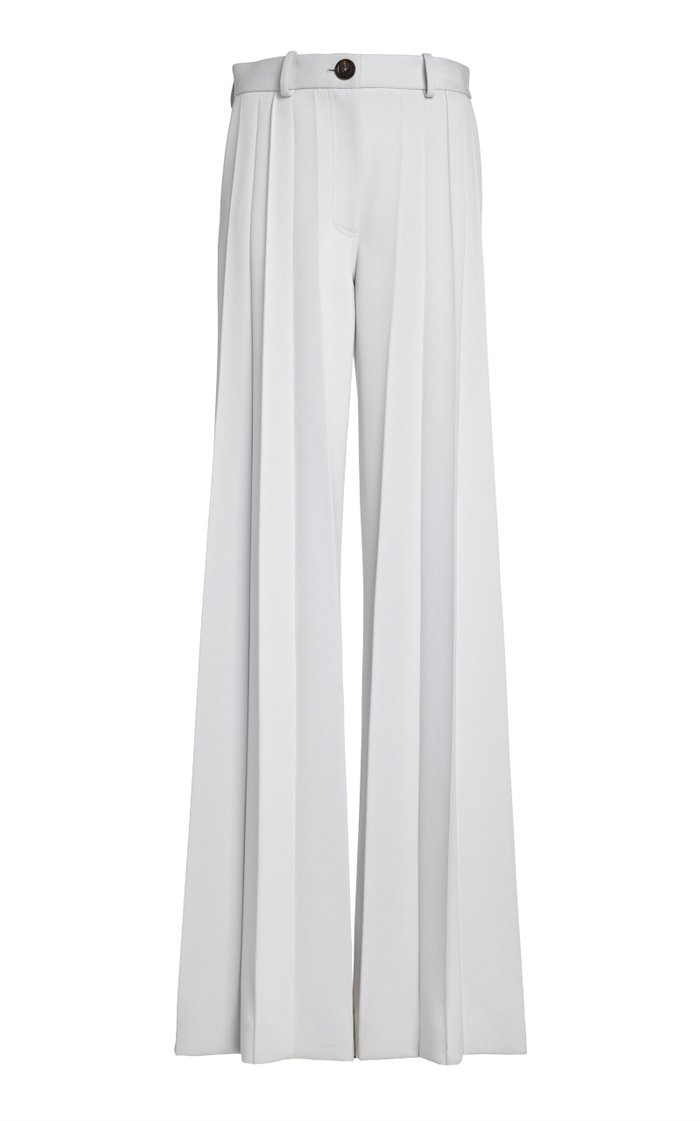 Pleated Twill Wide-Leg Trousers