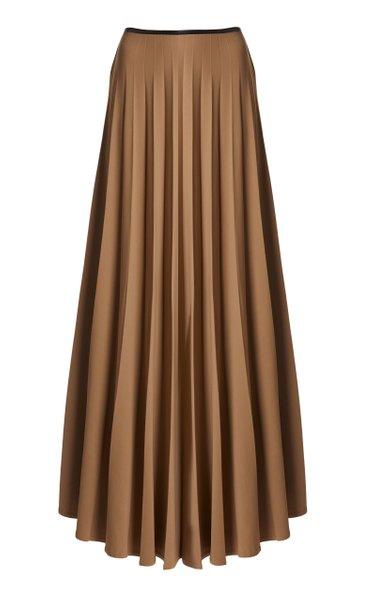 Pleated Twill Maxi Skirt