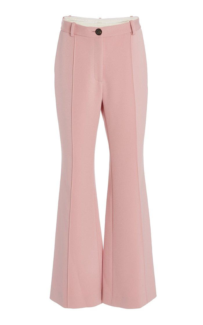 Twill High-Rise Flared-Leg Trousers