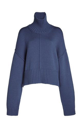 Oversized Ribbed-Knit Cropped Sweater
