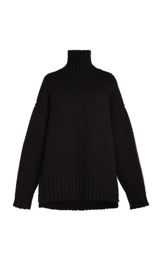 Oversized Ribbed-Knit Turtleneck Sweater