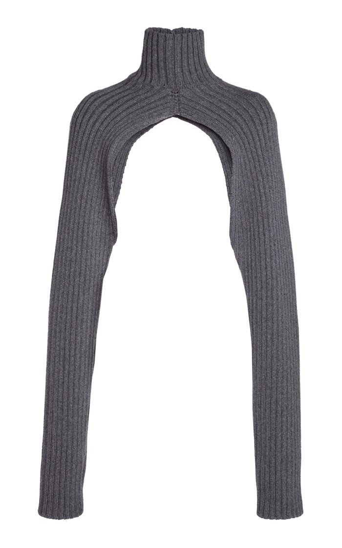 Ribbed-Knit Turtleneck Shrug