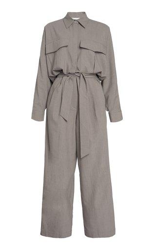 Oliver Long-Sleeve Wool Jumpsuit