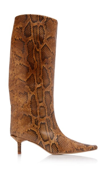 Jenara Snake-Effect Leather Knee Boots