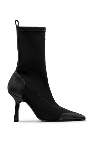 Noelle Leather-Trimmed Stretch-Knit Boots