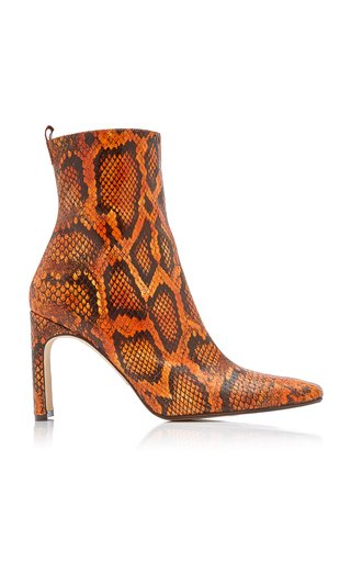 Marcelle Snake-Effect Leather Ankle Boots