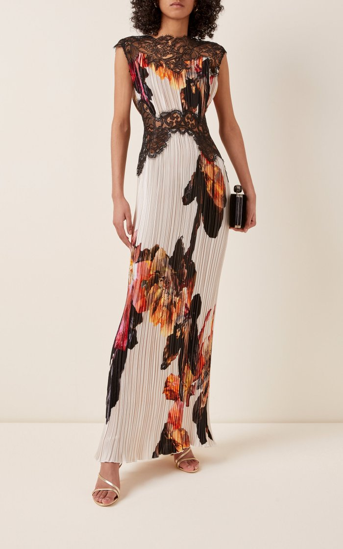 Marion Lace-Detailed Floral Plissé Satin Maxi Dress