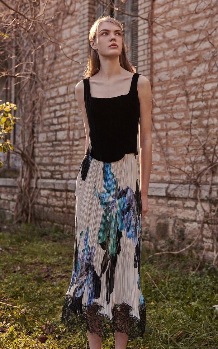 Malinda Lace-Trimmed Floral Plissé Satin Midi Skirt